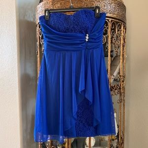 Teeze Me Formal Royal Blue Strapless Dress